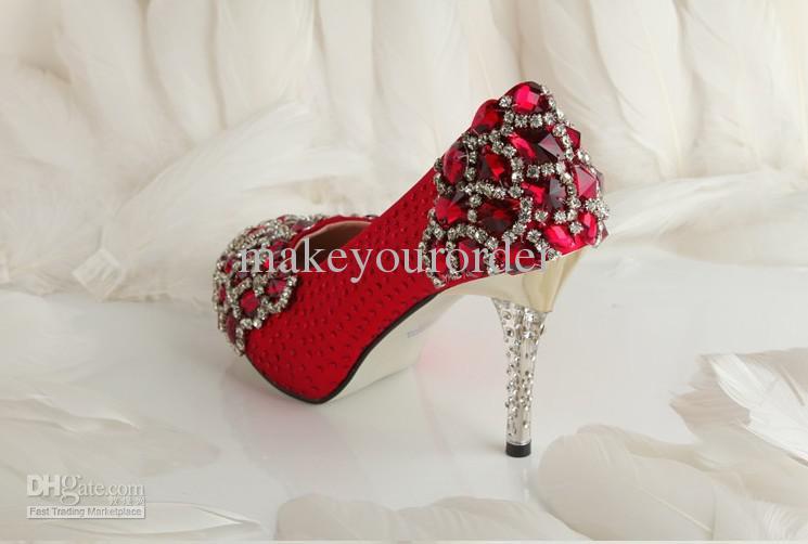 Short Description Red Color Diamond Wedding Shoes