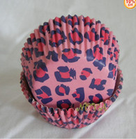 Wholesale Leopard Print Paper - 500pcs hot pink leopard print cupcake liners baking paper cup muffin cases for party celebrate