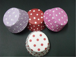 Wholesale Dots Paper - 500pcs hot white pink red colorful Polka dot cupcake liners baking paper cup muffin cases for party