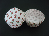 Wholesale Strawberry Cupcake Liners - 500pcs hot red strawberry white cute cupcake liners baking paper cup muffin cases for party
