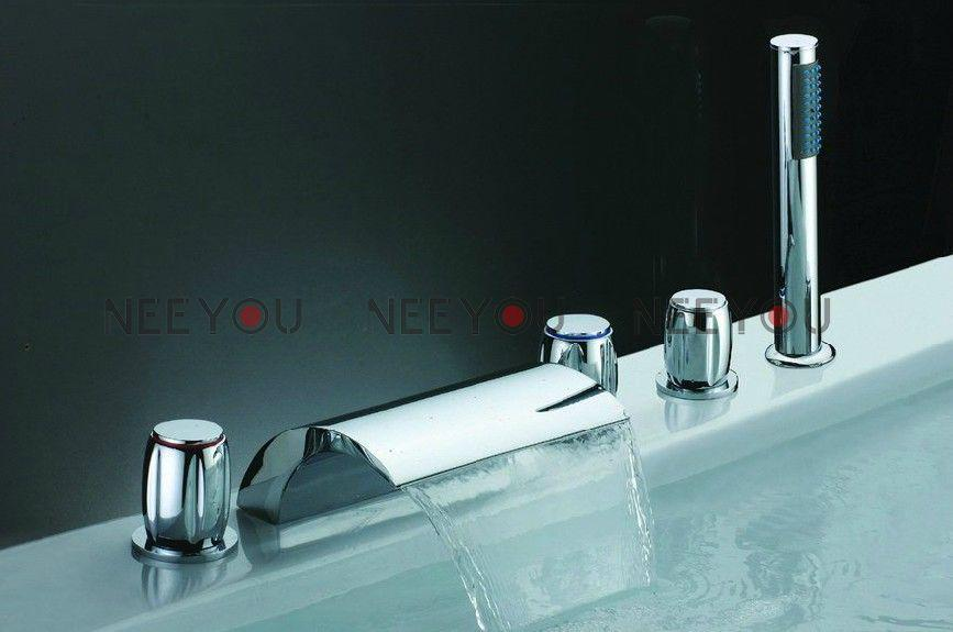 7 Faucet Finishes For Fabulous Bathrooms: 2019 Waterfall Faucet For Tub Bathroom Pure Brass Sink Tap
