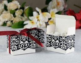 Wholesale Damask Wedding Favor Boxes - 50pcs lot!Free Shipping hot selling Damask Wedding Favors Boxes with Ribbon,Sweet Boxes, favor boxes 5*5CM
