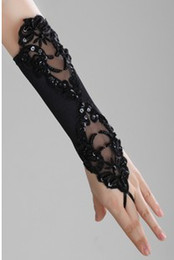 Wholesale Elbow Length Gloves Red Black - gothic Style black party wedding accessories Bridal Gloves fingerless lace beads satin gloves woman accessories H001lb