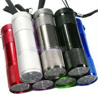 cão de bolso branco venda por atacado-Colorido 9 LED lanterna de acampamento de alumínio, mini lanterna, frete grátis 100 pçs / lote