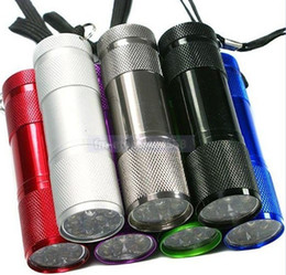 colorido 9 LED linterna que acampa de aluminio, mini linterna, envío libre 100pcs / lot desde fabricantes
