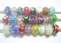 50pcs lot Mix Style Murano Lampwork Glass European Beads Charm Bracelet Necklace For DIY Craft Jewelry C20*