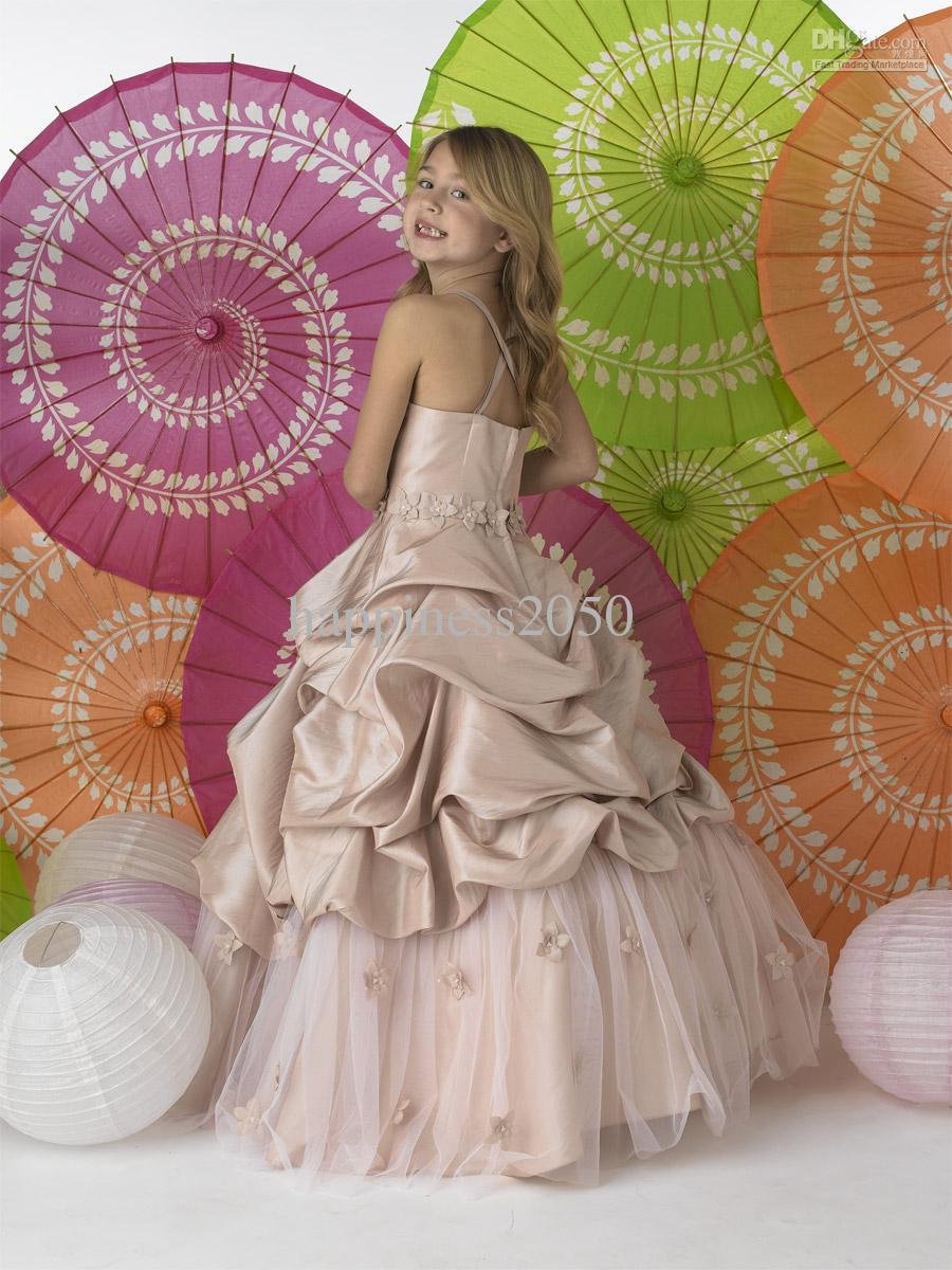 Jul champagne taffeta remsor bröllop blomma flicka klänning flicka kjol födelsedag Pageant klänning anpassad storlek 2 4 6 8 10 12 f127002