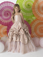 Christmas Champagne Taffeta Straps Wedding Flower Girl Dress...