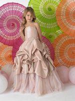 Christmas Champagne Taffeta Straps Wedding Flower Girl Dress...