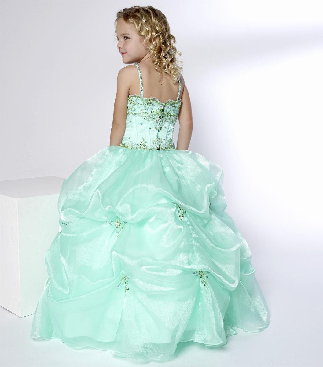 Christmas Green Organza Straps Beads Wedding Flower Girl Dress Girl's Skirt Birthday Pageant Dress Custom Size 2 4 6 8 10 12 F127003