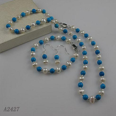 Nice pearl jewelry set AA 6-7MM White Genuine freshwater pearl & blue turquoise Free shipping A2427