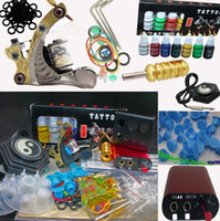 Wholesale Tattoo Ink Red Color - Top Grade Tattoo Machine Gun Tattoo Kit 7 Color Inks MIN Red Power Supply System 2 CD Tip Accessory