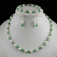Wholesale Nice Pearl Necklace - Nice pearl jewelry set AA 6-7MM White Genuine freshwater pearl & green jade Free shipping A2429