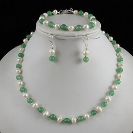 Wholesale Nice Christmas Lights - Nice pearl jewelry set AA 6-7MM White Genuine freshwater pearl & green jade Free shipping A2429