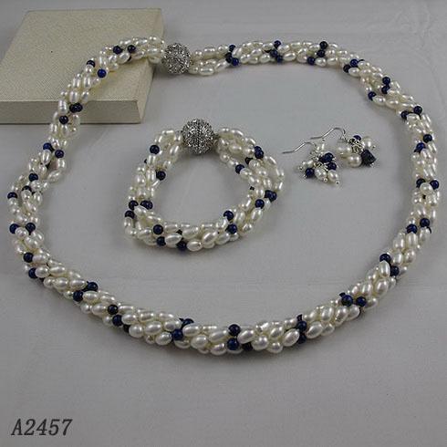 4Row Pearl Biżuteria Zestaw AA4-5mm White Freshwater Pearl Lapis Rhinestone Zapięcie Darmowa Wysyłka A2457