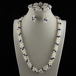 $enCountryForm.capitalKeyWord Australia - 4row pearl jewelry set AA4-5MM white freshwater pearl &lapis & Rhinestone clasp Free shipping A2457