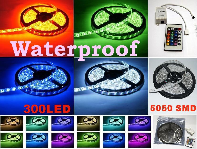 5050 SMD Flexible RGB LED Strip Light Waterproof LED Lighting Strips  60leds/m 300 Leds + 24 Key Remote IR Controller RGB Led Strips LED Light  Strip ...