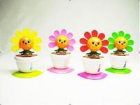 Wholesale Novelty Toys Car Decor - Wholesale Novelty Flip Flap Solar Powered Flower Flowerpot Swing Blink Toys Car decor