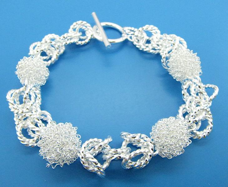 Produttore di gioielli 925 bracciali in argento sterling moda gioielli maglia bracciali cavicchi argento gioielli prezzo di fabbrica