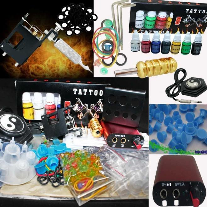 Black Rotary Tattoo Machine & MIN Power Supply Tattoo Kit CT 7 Color Inks set 100 Ink Cups Accessory