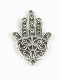 Wholesale Hamsa Connectors - 60PCS Tibetan silver hamsa hand connector A15440
