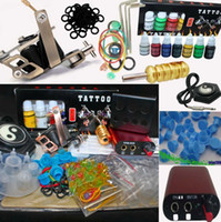 Wholesale Low Priced Tattoo Guns - Lower Price Red MIN Power Supply System Tattoo Machine Kit 7 Inks 20 Needles 100 Ink Cups Tools
