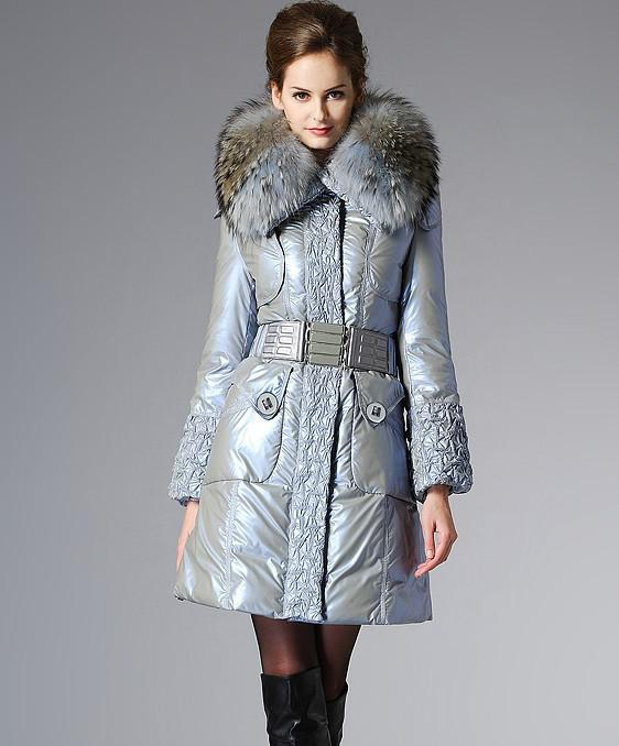 2018 Girl's Down And Feather Coat 2012 New Ladies Fur Collar Long ...