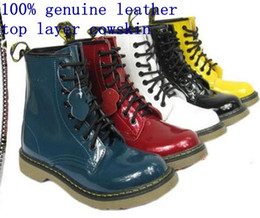 Wholesale painted cow - factory 100% genuine leather top cowskin paint colorful blue purple 8 holes womens martin boots