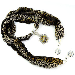 Wholesale Leopard Pattern Scarves - Antique alloy Flower Pendant Jewelry pendant scarf necklace ,fashion leopard pattern print shawl with flowers ends hanging ,NL-1589