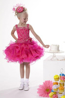 Christmas Fushcia Organza Straps Beads Wedding Flower Girl D...