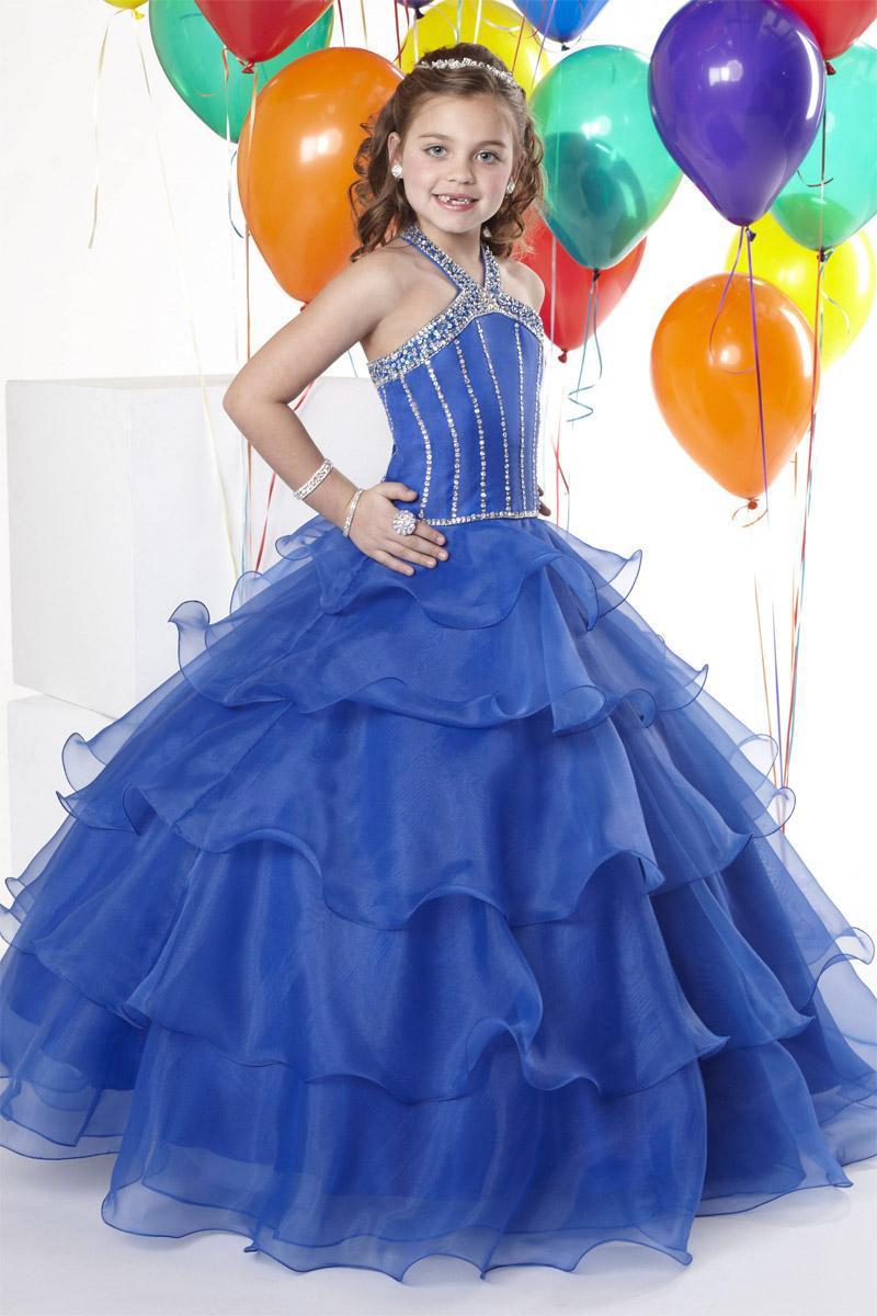Christmas Royal Blue Organza Halter Beads Wedding Flower Girl Dress Girl's Skirt Birthday Pageant Dress Custom Size 2 4 6 8 10 12 F129023