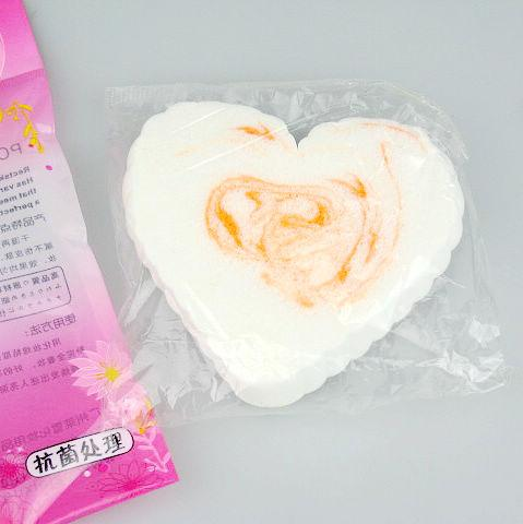 heart-shaped Facial Wash Cleaning PVA Puff Makeup Compress Puff Sponge For Face 110*80
