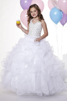 Christmas White Organza Halter Beads Flower Girl Dress Girl&...