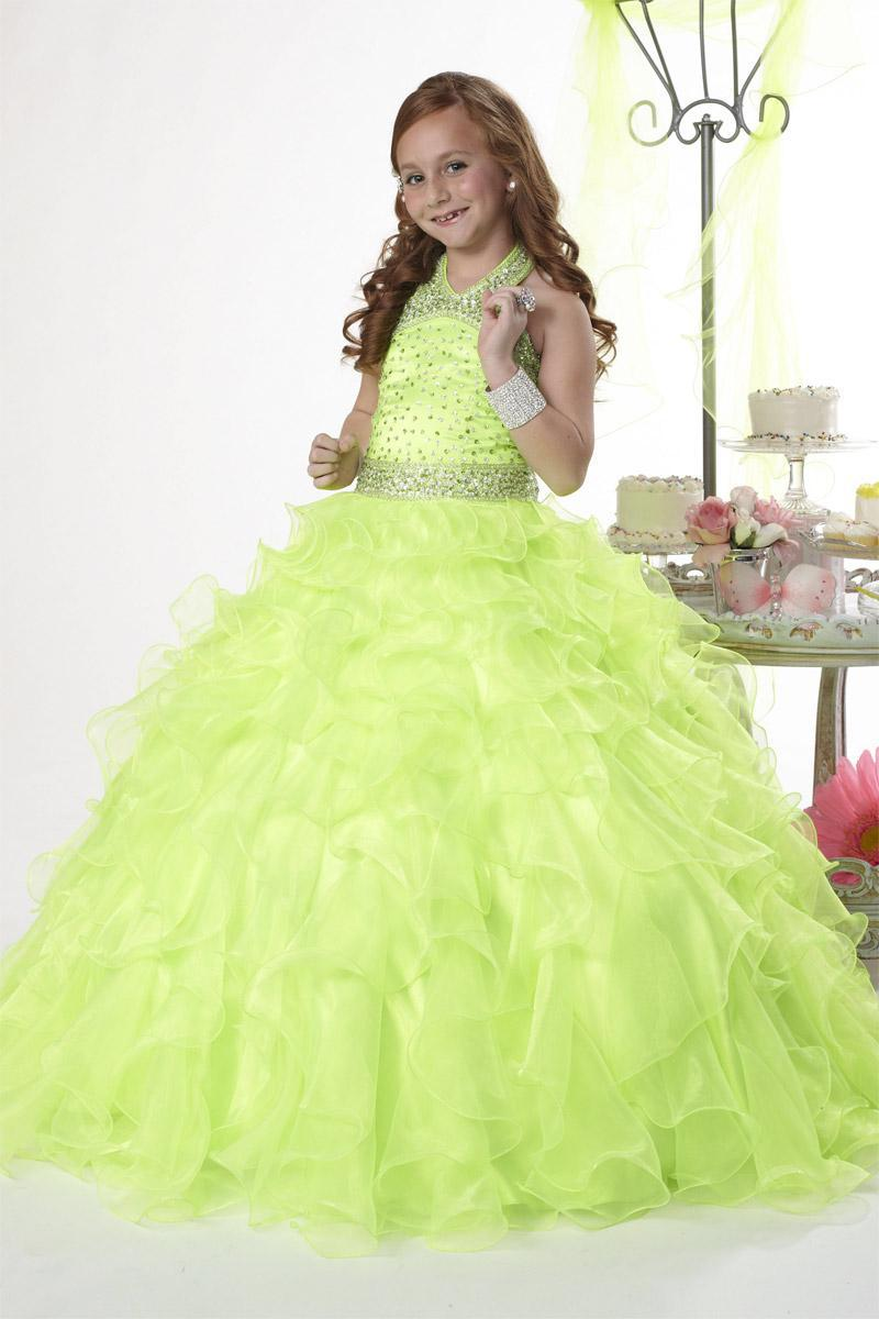 0b451bb6d Christmas Lemon Green Organza Halter Beads Wedding Flower Girl Dress ...