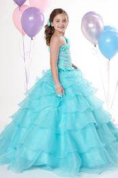 Birthday Dress Size 12 Girls Canada - Christmas Blue Organza One-Shoulder Beads Wedding Flower Girl Dress Girl's Skirt Birthday Pageant Dress Custom Size 2 4 6 8 10 12 F129028