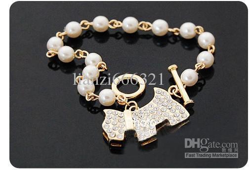 뜨거운 판매 패션 아름다운 강아지 전체 다이아몬드 진주 팔찌 체인 팔찌 개 실버 팔찌 무료 배송