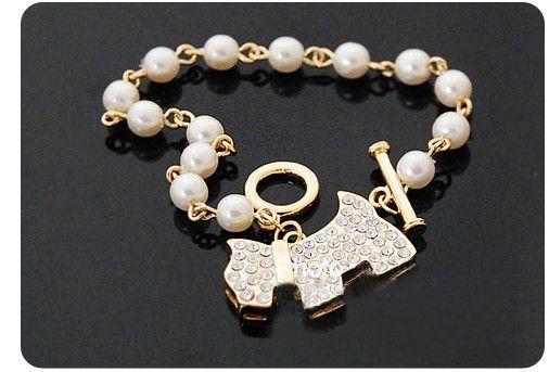 Vente chaude mode chiot chien complet diamant perles perles chaîne bracelet chien argent bracelet livraison gratuite