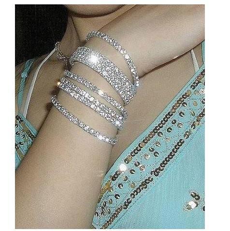 Single row of bright silver simple diamond drilling small fine mahogany wide stretch candy bracelet Silver Bracelet