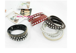black belt silver plate Coupons - Hot Selling beautiful Irregular cortical layers varied rivet bracelet Leather belt With Rivets Snaps Bracelet free shipping