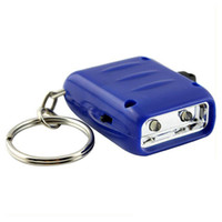 Wholesale Mini Dynamo Flashlight Keychain - Mini 2-LED Hand-Crank Dynamo Keychain Flashlight