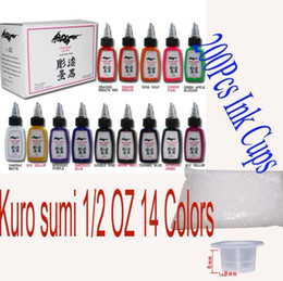 Wholesale Ink Tattoo Colors - Natural Tattoo Ink 14 Colors 1 2OZ(15ML) Pigment & 200pcs Ink Cups Sent Freely High Quality Pigment for Kits