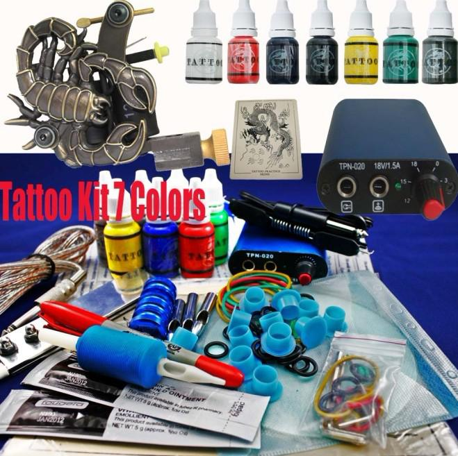 7 Inks Min Power Supply Amp Scorpions Tattoo Machine Gun Kit