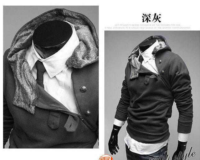 M-3XL 5 색 외투 새로운 남자 슬림 후드 후드 코트 재킷 스웨터를