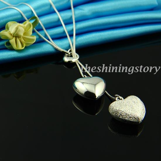 New arrival sterling silver stamped heart pendant toggle necklaces jewellery