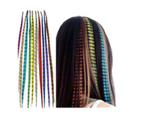 Wholesale Synthetic Feather Extensions - 300pcs lot 16 Inch Long Synthetic Grizzly Rooster Feather Hair Extension Feathers Extensions cool gh