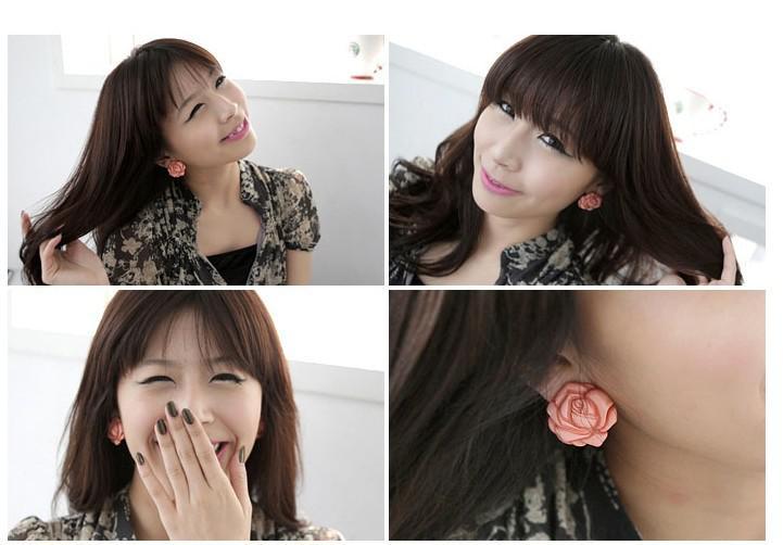 뜨거운 판매 신선한 예쁜 패션 귀여운 예쁜 장미 꽃 스터드 로즈 플라워 귀걸이 장미 무료