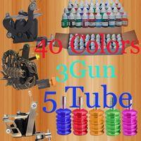 ingrosso l'alluminio tattoo macchina impugna tubo-Kit di tatuaggi Pro 40 Inks 8ML / Bottle Pigment 3 con 5 impugnature per tubi in alluminio