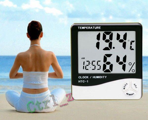 Wholesale - LCD Digital Temperature& Humidity Meter Thermometer Hygrometer 1 Clock White 50pcs