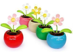 Powered Flip Flap Solar Flowerpot Swing Solar Dancing Flower Bud Toy Car Decor Ornaments Toys