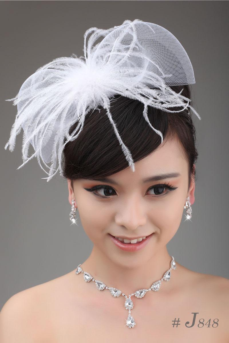 Simple Bridal Jewelry Sets Wedding Necklace Earrings Feather
